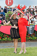 02/08/2012. Repro free first use.The winner of the Anthony Ryan's Best Dressed Lady Competition on Ladies Day at the Galway Races is 22 year old Kelli O' Dell , a student from New-South Wales Australia.  Ms O'Dell wore an ?Anaessia? Black lace dress, with champagne underlay, matching sash and butterfly broaches.  It was accessorized with black patent Tony Bianco Shoes and her grandmother's black gloves. . AND Sporting a hat of her own design, Aisling Ahern from Knockvickar, Boyle, Co. Roscommon was the winner of the Anthony Ryan's Best Hat Competition. The winning hat had an almond shape base with burnt orange structured bow. Photo:Andrew Downes..