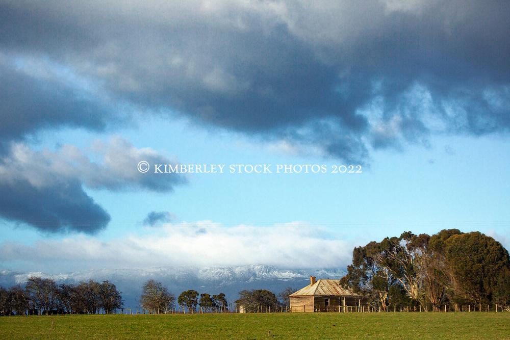 A rustic weatherboard farm building near Bishopsbourne  in Tasmania's northern midlands.