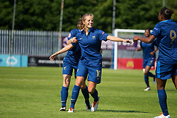 HAVERFORDWEST, WALES - Sunday, August 25, 2013: France's Sandie Toletti celebrates scoring the first goal against Wales during the Group A match of the UEFA Women's Under-19 Championship Wales 2013 tournament at the Bridge Meadow Stadium. (Pic by David Rawcliffe/Propaganda)
