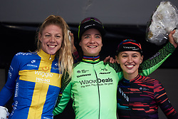 Top three on the stage Marianne Vos (NED), Emilia Fahlin (SWE) and Kasia Niewiadoma (POL) at Ladies Tour of Norway 2018 Stage 2, a 127.7 km road race from Fredrikstad to Sarpsborg, Norway on August 18, 2018. Photo by Sean Robinson/velofocus.com