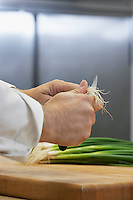 Chef chopping onion close-up