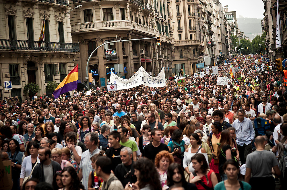 Barcelona, Spain June 19th, 2011. Indignant protest.
