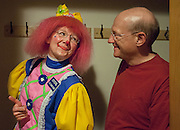 "Crystal gives Jim the ""thumbs-up"" when he asks her about her long day of clowning. ""Clowning with my husband is really exciting and fun,"" Cindy said after taking off ""Crystal."" ""Being able to clown with somebody else adds a new dimension to the theater aspect of it. That's the great stuff of clowning."""