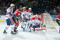KELOWNA, CANADA - NOVEMBER 7: Colton Heffley #25 of Kelowna Rockets looks for the pass amid Colton Bobyk #32, Liam Stewart #11, Jason Fram #2 and Garret Hughson #30 of Spokane Chiefs on November 7, 2014 at Prospera Place in Kelowna, British Columbia, Canada.  (Photo by Marissa Baecker/Shoot the Breeze)  *** Local Caption *** Colton Heffley; Jason Fram; Colton Bobyk; Liam Stewart; Garret Hughson;