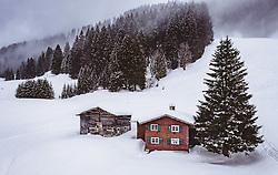 THEMENBILD - ein Holzhaus mit Scheune in der winterlichen Landschaft, aufgenommen am 02. Februar 2019 in Riezlern, Oesterreich // a wooden house with barn in the winter landscape in Riezlern, Austria on 2019/02/02. EXPA Pictures © 2019, PhotoCredit: EXPA/ JFK