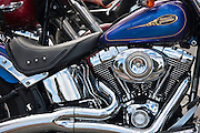 Harley Davidson Fatboy 90 cubic inches engine motorbike in Miami, Florida, USA