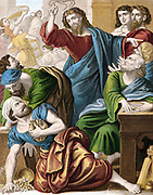 Christ driving the money changers out of the Temple. Matthew:21. Mid-19th century chromolithograph.