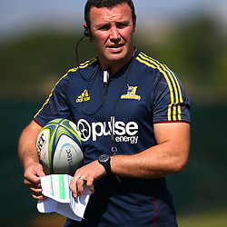 Aaron Mauger (Head Coach) of the Pulse Energy Highlanders during the Pulse Energy Highlanders training session at Crawford College, La Lucia ,Durban.South Africa. 01,05,2018 Photo by Steve Haag)