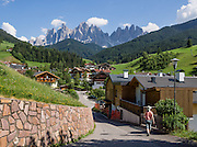 Views of the Geisler/Odle Group from St. Magdalena (Santa Maddalena) village are iconic of the Dolomites mountains. See the valley and municipality of Funes (Villnöss) in Trentino-Alto Adige/Südtirol (South Tyrol), Italy. Enjoy great hiking here in the vast Nature Park of Parco Naturale Puez-Odle (German: Naturpark Puez-Geisler; Ladin: Parch Natural Pöz-Odles). The Dolomites are part of the Southern Limestone Alps, Europe. UNESCO honored the Dolomites as a natural World Heritage Site in 2009.
