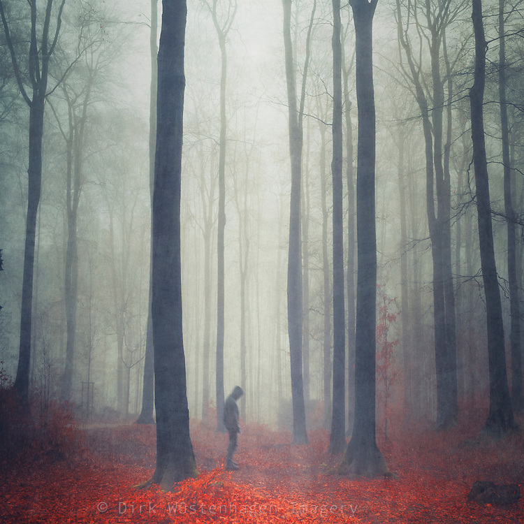 Hooded figure standing in a misty autumn forest - manipulated photograph