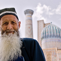 Old man near the Registan, Samarcand, Uzbekistan