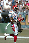 HONOLULU, HI - FEBRUARY 8:  Cincinnati Bengals wide receiver Chad Johnson #85 of the AFC squad at the 2004 NFL Pro Bowl game against the NFC at Aloha Stadium on February 8, 2004 in Honolulu, Hawaii. The NFC defeated the AFC 55-52. ©Paul Spinelli/SpinPhotos *** Local Caption *** Chad Johnson