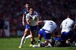 Kahn Fotuali'i of Samoa passes the ball - Mandatory byline: Patrick Khachfe/JMP - 07966 386802 - 20/09/2015 - RUGBY UNION - Brighton Community Stadium - Brighton, England - Samoa v USA - Rugby World Cup 2015 Pool B.