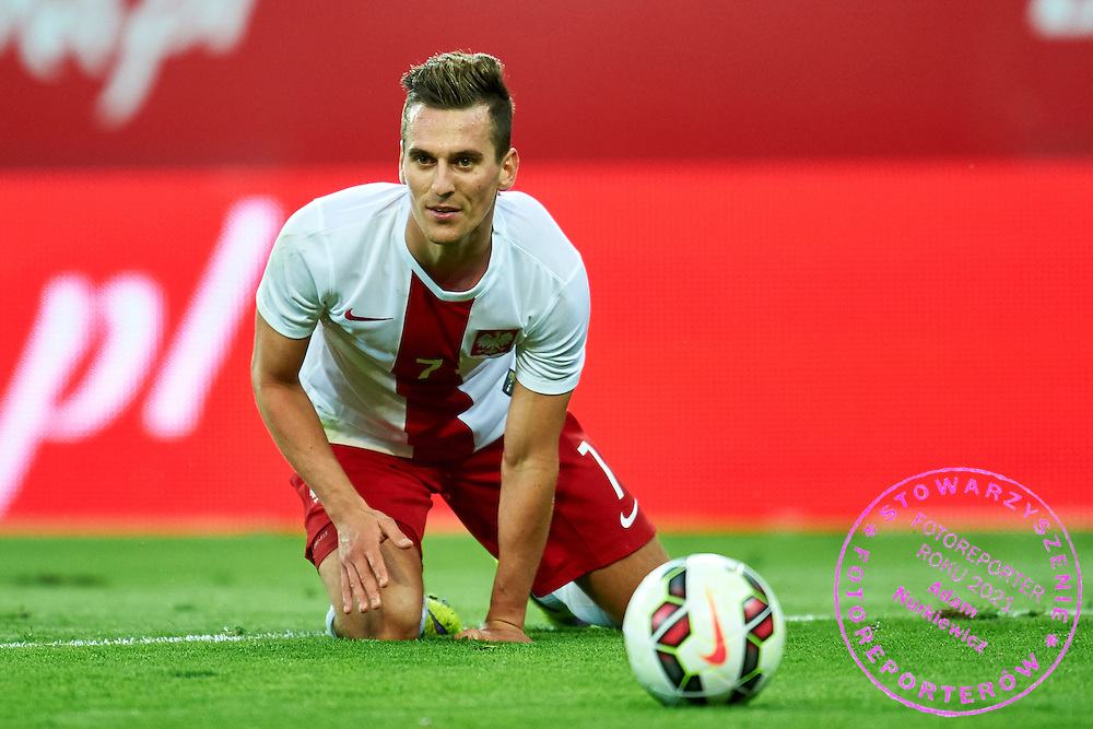 Arkadiusz Milik from Poland looks at the ball during international friendly soccer match between Poland and Greece at PGE Arena Stadium on June 16, 2015 in Gdansk, Poland.<br /> Poland, Gdansk, June 16, 2015<br /> <br /> Picture also available in RAW (NEF) or TIFF format on special request.<br /> <br /> For editorial use only. Any commercial or promotional use requires permission.<br /> <br /> Adam Nurkiewicz declares that he has no rights to the image of people at the photographs of his authorship.<br /> <br /> Mandatory credit:<br /> Photo by &copy; Adam Nurkiewicz / Mediasport