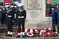 © Licensed to London News Pictures. 11/11/2018. Orpington, UK. Cadets stand with heads bowed at war memorial. Ex-transport minister and MP for Orpington Jo Johnson attending the Remembrance day service at Orpington war memorial to mark one hundred years since the end of the first world war.Photo credit: Grant Falvey/LNP