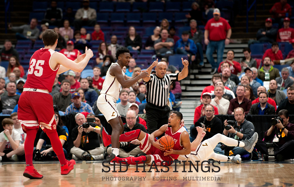Loyola University Chicago battles the Bradley University during the semifinals of the Missouri Valley Conference men's basketball tournament at Scottrade Center in St. Louis Saturday, March 3, 2018. Photo © copyright 2018 Sid Hastings.