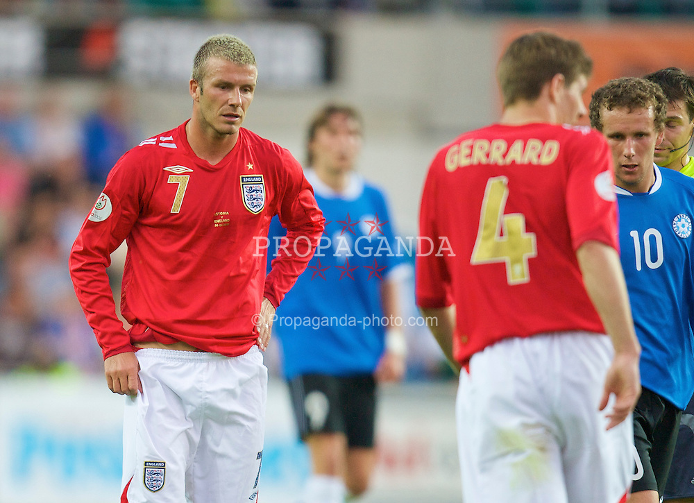 Tallinn, Estonia - Wednesday, June 6, 2007: England's David Beckham in action against Estonia during the UEFA Euro 2008 Qualifying Group E match at Le Coq Arena. (Pic by David Rawcliffe/Propaganda)