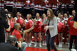 14 February 2016: Matt Coates proposes marriage to his girl friend, Allie Held during the Illinois State Redbirds v Bradley Braves at Redbird Arena in Normal Illinois (Photo by Alan Look)