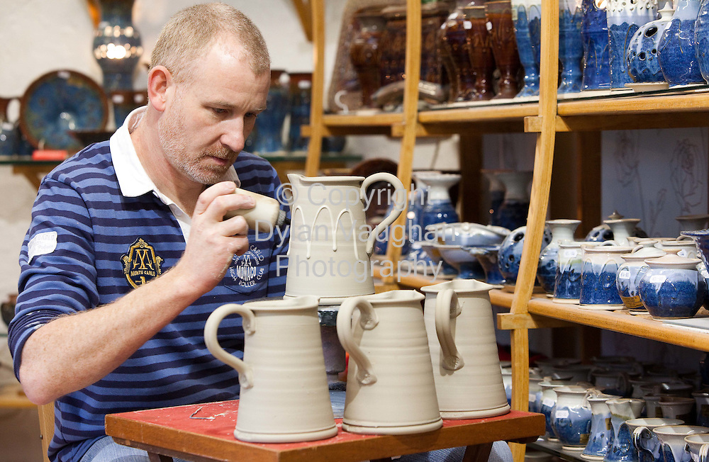 21/1/2010.Ray Power of Castle Arch Pottery in Kilkenny puts the finishing touches to his tableware for Showcase.Picture Dylan Vaughan
