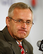 12//31/09  - Ohio State head coach Jim Tressel appears a bit determined while speaking before the media during his final press conference at the downtown L.A. Marriott.