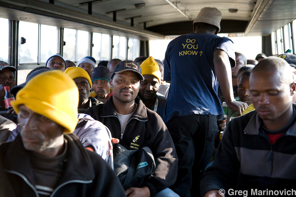 Miners working on Xstrata's coal mines at Breyten are all involved in a  company and community wide Aids and HIV awareness campaign that has won international recognition, Mpumalanga province, South Africa, Photo Greg Marinovich.