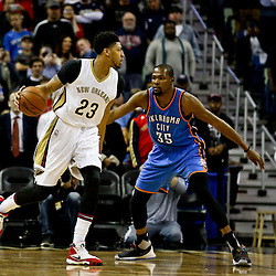 Feb 25, 2016; New Orleans, LA, USA; New Orleans Pelicans forward Anthony Davis (23) is defended by Oklahoma City Thunder forward Kevin Durant (35) during the first quarter of a game at Smoothie King Center. Mandatory Credit: Derick E. Hingle-USA TODAY Sports