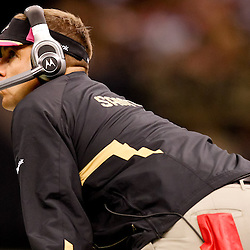 October 3, 2010; New Orleans, LA, USA; New Orleans Saints head coach Sean Payton watches from the sideline during the second half against the Carolina Panthers at the Louisiana Superdome. The Saints defeated the Panthers 16-14. Mandatory Credit: Derick E. Hingle