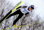 Daiki Ito of Japan soars through the air during the FIS World Cup Ski Jumping in Sapporo, northern Japan in February, 2008.