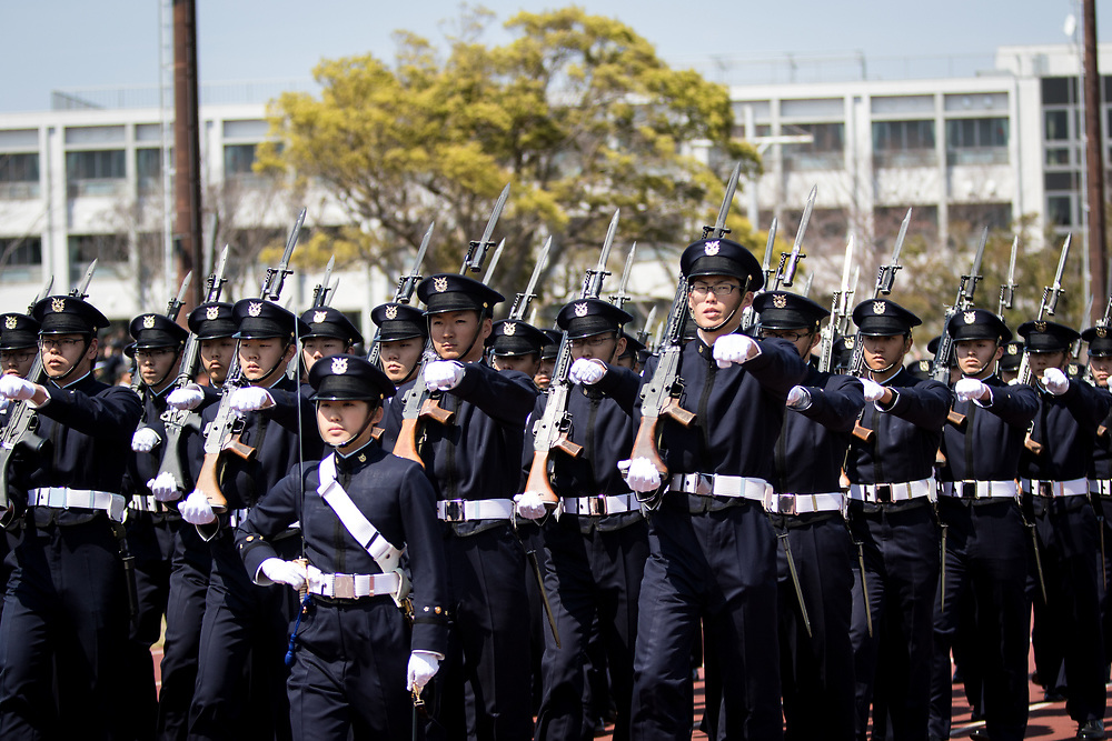 YOKOSUKA, JAPAN - APRIL 5 : Japanese cadets march during the entrance ceremony of new students at National Defense Academy in Yokosuka, south of Tokyo, Japan, April 5, 2017. This year, 468 new cadets enter the academy. (Photo by Richard Atrero de Guzman/NUR Photo)