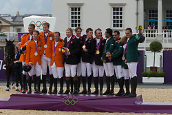 1 Team Great Britain:<br /> Skelton Nick (GBR)<br /> Maher Ben (GBR) <br /> Brash Scott (GBR)<br /> Charles Peter (GBR)<br /> 2 Team Netherlands:<br /> Vrieling Jur (NED)<br /> Van Der Vleuten Maikel (NED) <br /> Houtzager Marc (NED) <br /> Schroder Gerco (NED)<br /> 3 Team Saudi Arabia: <br /> HRH Prince Al Saud Bin Abdullah (KSA) <br /> Bahamdan Kamal (KSA)<br /> Al Duhami Ramzy (KSA)<br /> Sharbatly Abdullah Waleed (KSA)<br /> Olympic Games London 2012<br /> © Dirk Caremans