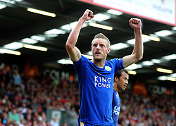 Jamie Vardy of Leicester City celebrates his goal to make it 1-1 - Mandatory byline: Alex James/JMP - 07966386802 - 29/08/2015 - FOOTBALL - Dean Court -Bournemouth,England - AFC Bournemouth v Leicester City - Barclays Premier League