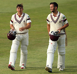 Somerset's Michael Bates (left) and Somerset's Lewis Gregory (right) walk off at the end of play on Day One of the game against Hampshire - Photo mandatory by-line: Robbie Stephenson/JMP - Mobile: 07966 386802 - 21/06/2015 - SPORT - Cricket - Southampton - The Ageas Bowl - Hampshire v Somerset - County Championship Division One