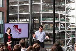 "© Licensed to London News Pictures . 10/11/2016 . Manchester , UK . Labour Party candidate ANDY BURNHAM (c) delivers a speech and hosts a Q&A , watched over by LUCY POWELL (l) at the launch of the party's campaign for the Greater Manchester Mayoralty , at the "" HOME "" arts venue on Tony Wilson Place , First Street , Manchester . Photo credit : Joel Goodman/LNP"