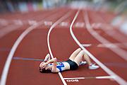 HELSINGBORG, SVERIGE 2017-08-26: Elina Johansson fr&aring;n Sp&auml;rv&auml;gens FK efter 1500 meter finalen under SM i friidrott p&aring; Hedens IP, Helsingborg den 26 augusti 2017. Foto: Lars Dareberg/Ombrello<br /> ***BETALBILD***