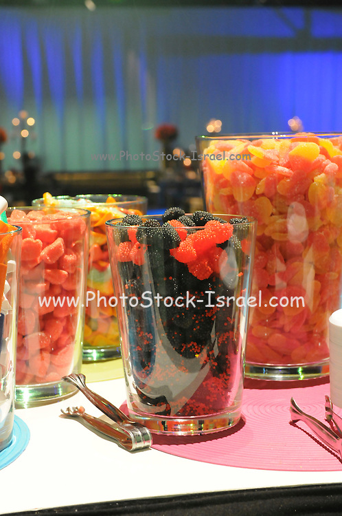 Glasses filled with fruit flavoured sweets