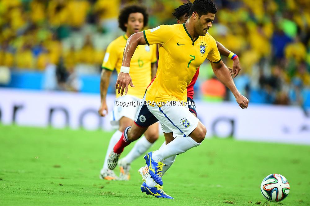 Hulk. Brazil v Colombia, quarter-final. FIFA World Cup Brazil 2014. Castelao stadium, Fortaleza. 4 July 2014.