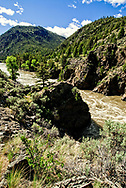 Yellowstone River, Yankee Jim Canyon, north of Gardiner, Montana, and Yellowstone National Park, Spring, rapids