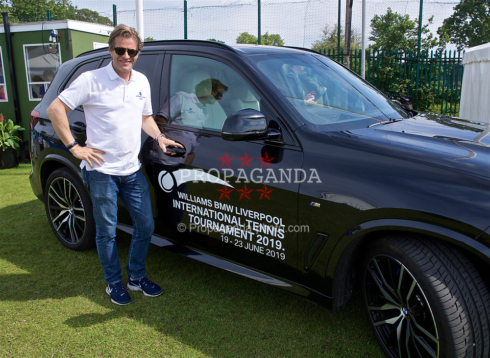 LIVERPOOL, ENGLAND - Sunday, June 23, 2019: Tournament Director Anders Borg with a BMW car during Day Four of the Liverpool International Tennis Tournament 2019 at the Liverpool Cricket Club. (Pic by David Rawcliffe/Propaganda)
