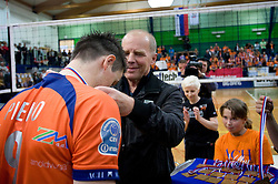 Matija Plesko and Herman Rigelnik of ACH at last final volleyball match of 1.DOL Radenska Classic between OK ACH Volley and Salonit Anhovo, on April 21, 2009, in Arena SGS Radovljica, Slovenia. ACH Volley won the match 3:0 and became Slovenian Champion. (Photo by Vid Ponikvar / Sportida)