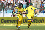 Aaron Finch of Australia and Phillip Hughes of Australia  during the 2nd One Day International (ODI) match in the Star Sports Series between India and Australia held at the Sawai Mansingh Stadium in Jaipur on the 16th October 2013<br /> <br /> Photo by Ron Gaunt-BCCI-SPORTZPICS<br /> <br /> Use of this image is subject to the terms and conditions as outlined by the BCCI. These terms can be found by following this link:<br /> <br /> http://sportzpics.photoshelter.com/gallery/BCCI-Image-terms-and-conditions/G00004IIt7eWyCv4/C0000ubZaQCkIRgQ
