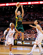 Sep 17, 2011; Phoenix, AZ, USA; Seattle Storm guard Sue Bird (10) puts up a shot against the Phoenix Mercury during the second half at the US Airways Center.  The Mercury defeated the Storm 92 - 83. Mandatory Credit: Jennifer Stewart-US PRESSWIRE