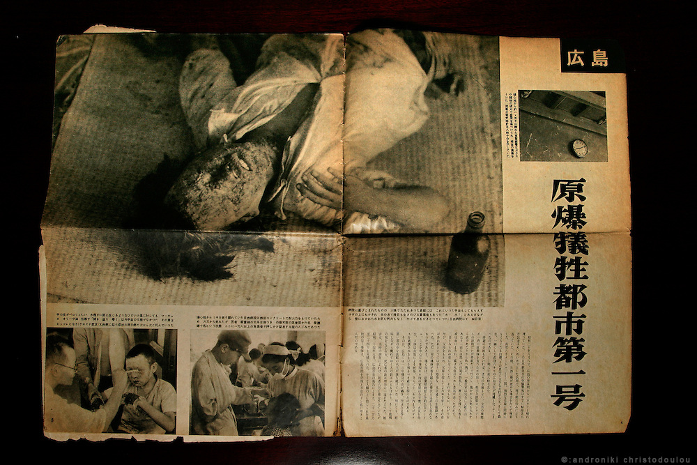 Dr HIROSHI MARUYA. Hiroshima A-Bomb survivor. Honorary doctor of Kyoritsu Hospital and poet. COPY: the Japanese magazine that for the first time in Japan published photos from Hiroshima - THE ASAHI PICTURE NEWS (6 August 1952)