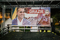 "POMIGLIANO D'ARCO, ITALY - 6 MARCH 2018: The empty stage with a ""Grazie"" (Thank You) banner of Luigi Di Maio, leader of the Five Star Movement, who returned to his his hometown to celebrate the movement's victory in the 2018 Italian General Elections, is seen here after the event in Pomigliano D'Arco, Italy, on March 6th 2018.<br /> <br /> The Five-Star Movement, became the first party in Italy, with 33 percent of the vote."