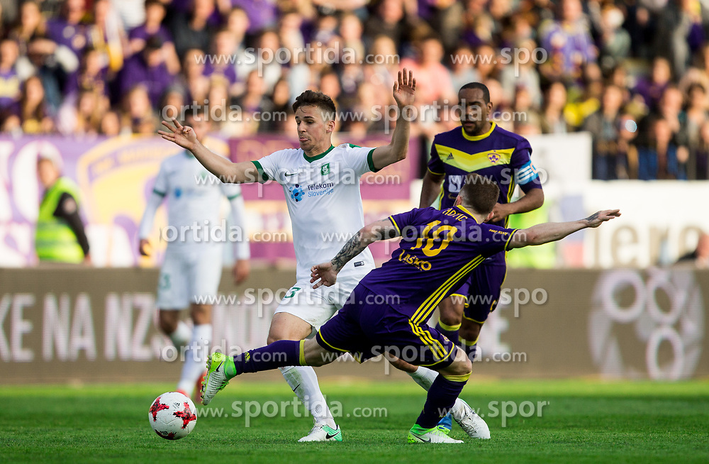 Nik Kapun of NK Olimpija Ljubljana vs Dino Hotic of Maribor during 2nd Leg football match between NK Maribor and NK Olimpija Ljubljana in Semifinal of Slovenian Football Cup 2016/17, on April 12, 2017 in Stadium Ljudski vrt, Maribor, Slovenia. Photo by Vid Ponikvar / Sportida