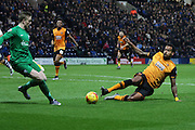 Hull City Midfielder Tom Huddlestone challenges Preston North End Goalkeeper Jordan Pickford during the Sky Bet Championship match between Preston North End and Hull City at Deepdale, Preston, England on 28 December 2015. Photo by Pete Burns.