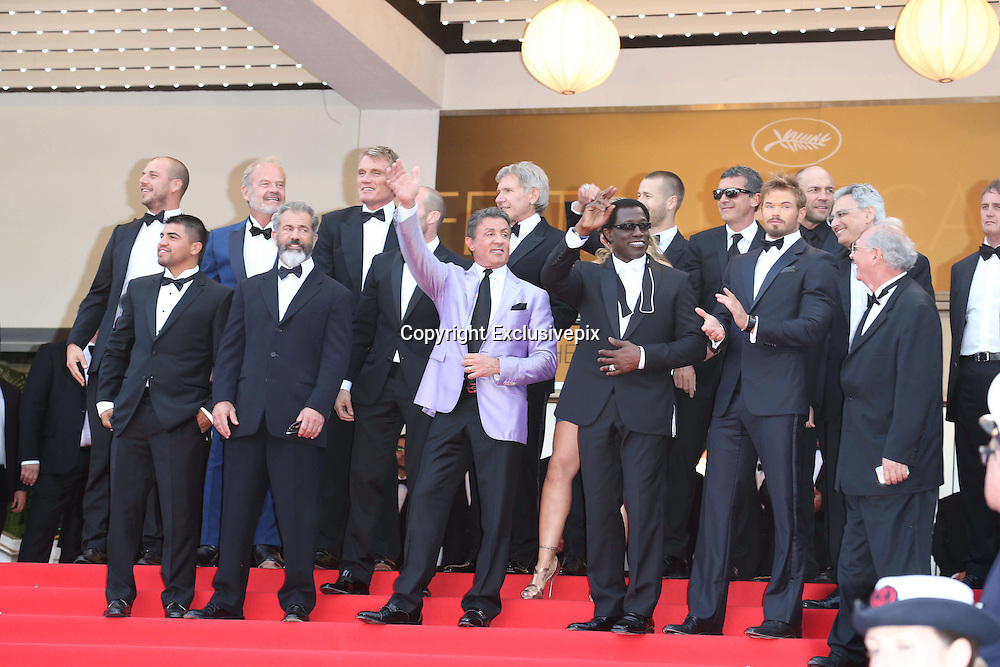 May 18, 2014 - Cannes, California, France -<br /> <br />  (Top l-r) Actors Glen Powell, Kelsey Grammer, Dolph Lundgren, Harrison Ford, director Patrick Hughes, actors Antonio Banderas, Randy Couture (front l-r) Victor Ortiz, Mel Gibson, Jason Statham, Sylvester Stallone, Ronda Rousey, Wesley Snipes, Kellan Lutz, guest and producer Avi Lerner attend the premiere of ''Expandables 3 during the 67th Cannes International Film Festival at Palais des Festivals in Cannes,<br /> ©Exclusivepix
