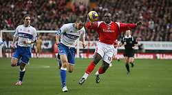 London, England - Saturday, January 13, 2007: Charlton Athletic's Jimmy-Floyd Hasselbaink and Middlesbrough's Emmanuel Pogatetz during the Premiership match at the Valley. (Pic by Chris Ratcliffe/Propaganda)