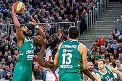 Mikael Hopkins of KK Cedevita Olimpija and Mouhammad Faye of KK Crvena Zvezda MTS during ABA basketball league round 9 match between teams KK Cedevita Olimpija and KK Crvena Zvezda MTS in Arena Stozice, 1. December, 2019, Ljubljana, Slovenia. Photo by Grega Valancic / Sportida