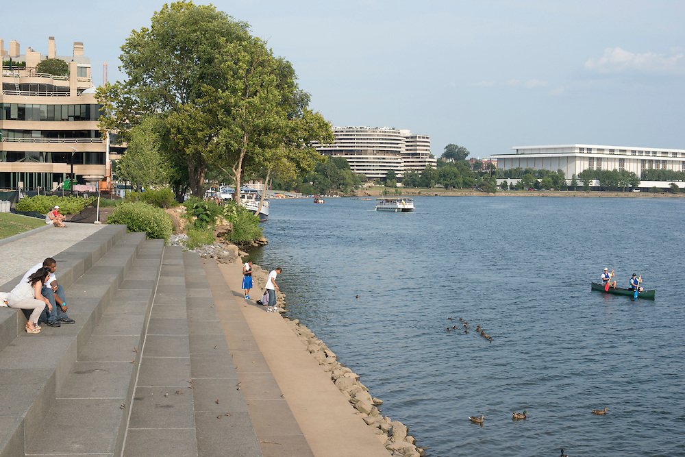 Georgetown Waterfront Park in Washington, DC offers views of the Watergate and Kennedy Center from it's Potomac River perch.