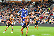 Chelsea forward Diego Costa (19) heads towards goal  during the Premier League match between Hull City and Chelsea at the KCOM Stadium, Kingston upon Hull, England on 1 October 2016. Photo by Ian Lyall.